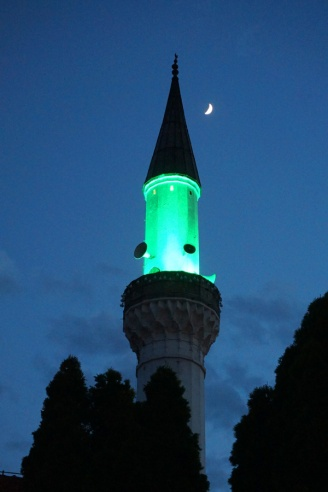 Lit up minaret, Skopje, North Macedonia