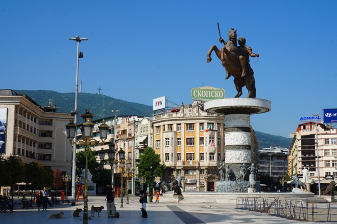 Alexander the Great statue in Macedonia Square, Skopje, North Macedonia