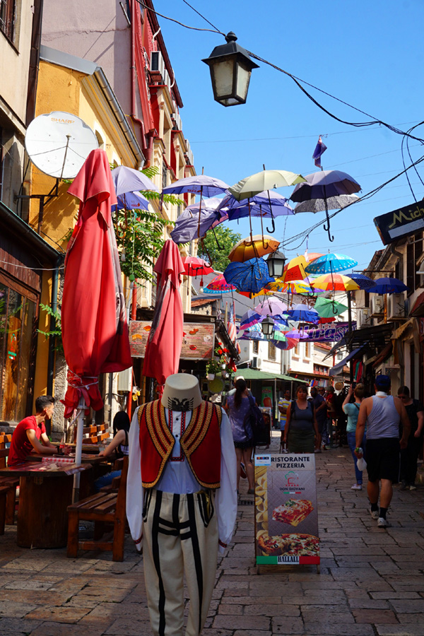 Umbrellas above the street, Skopje, North Macedonia