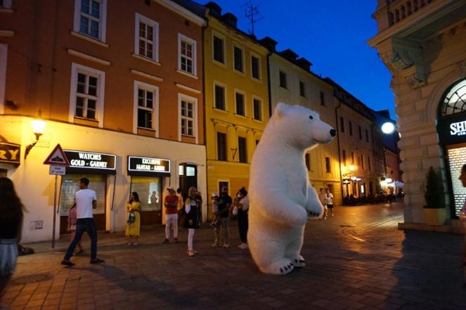 Dancing polar bear, Bratislava, Slovakia
