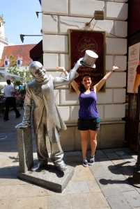 Statue holding a hat over my head, Bratislava, Slovakia