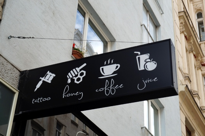 Tattoo, honey, coffee, juice sign, Vienna, Austria