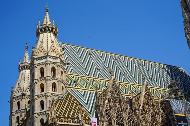 Close up of St Stephen's Cathedral roof, Vienna, Austria