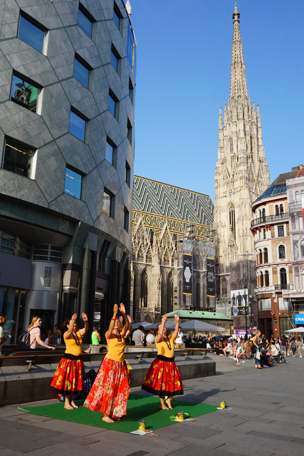 Dancers in front of St Stephen's cathedral, Vienna, Austria