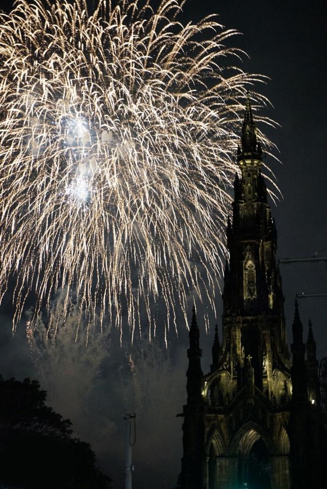Scott Monument fireworks, Edinburgh, Scotland