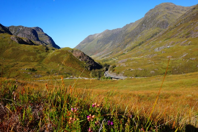 View across Glencoe, start of Buachaille Etive Beag hike, Scotland