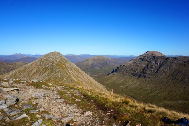 Buachaille Etive Beag, view over Glen Etive and Loch Rannoch, Scotland