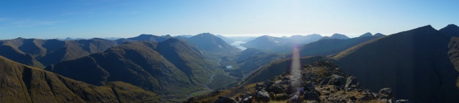 Buachaille Etive Beag hike, view from the summit down Glen Etive to Loch Etive, Scotland