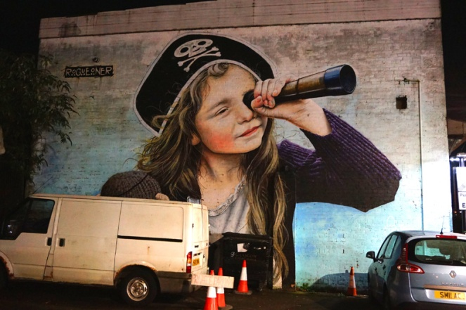 Pirate girl mural, Glasgow, Scotland