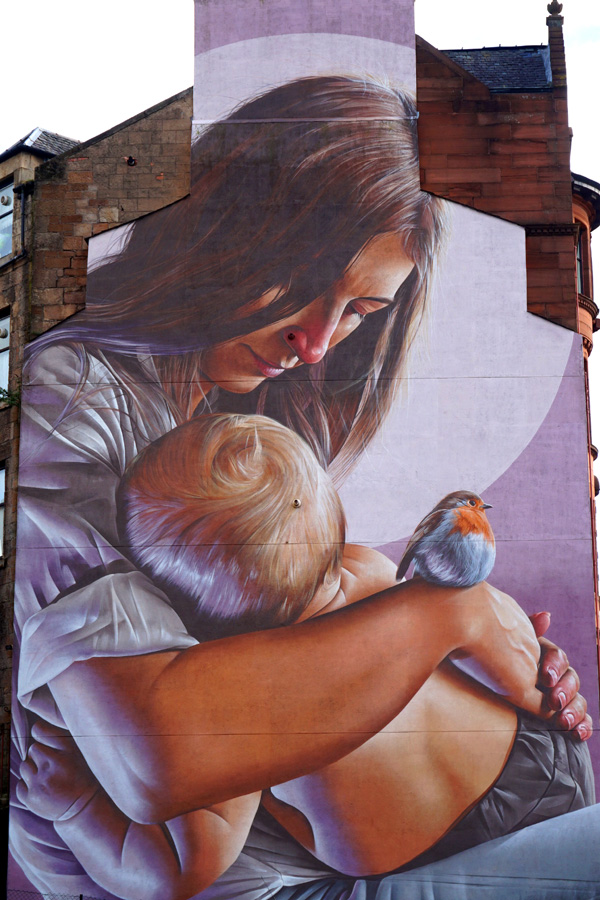 St Enoch & child street art, Glasgow, Scotland