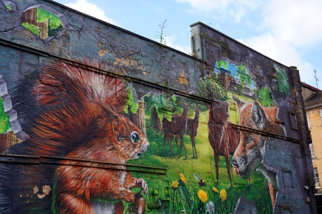 Squirrel & fox mural street art, Glasgow, Scotland
