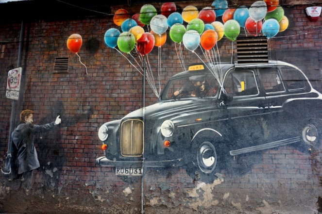 Black cab balloon street art, Glasgow, Scotland