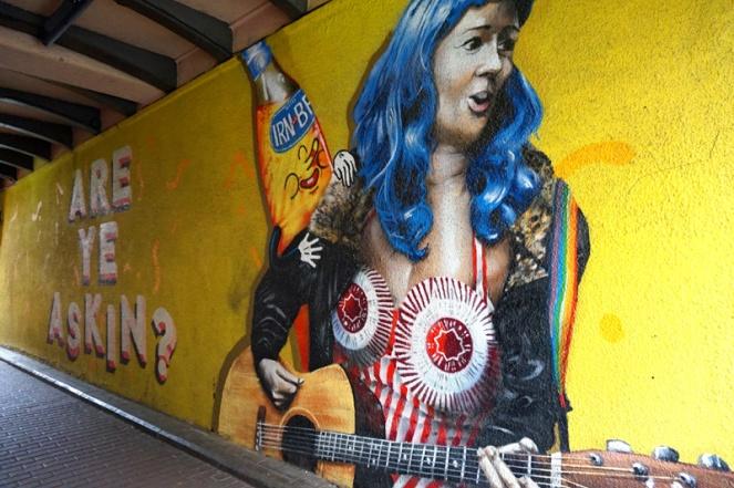 Tunnocks tea cakes street art with Irn Bru and