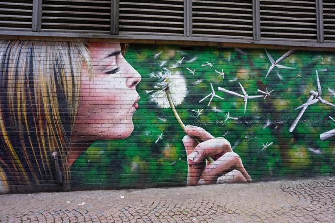 Dandelion windmills street art, Glasgow, Scotland