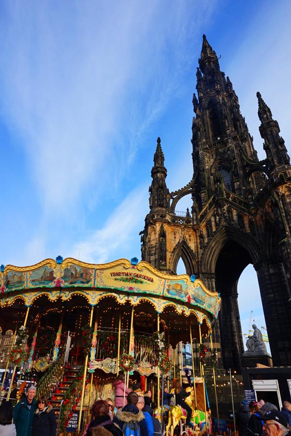 Christmas markets by Scott Monument, Edinburgh, Scotland