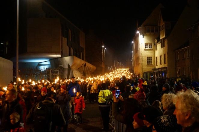 Torchlight procession, The Royal Mile, Edinburgh
