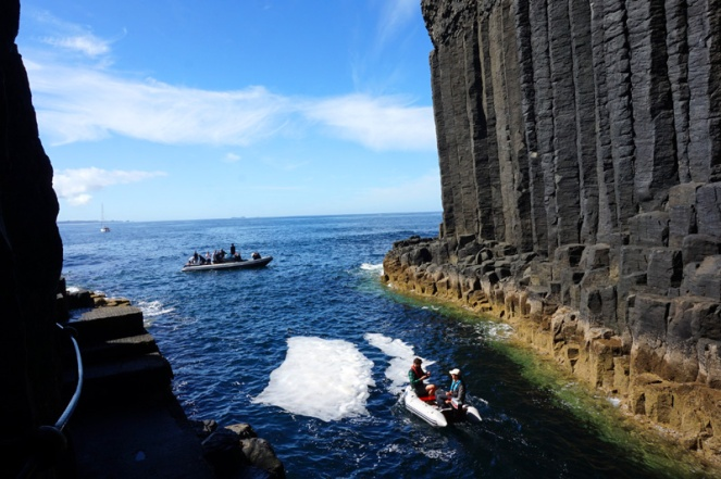 Fingal's Cave, Staffa, Scotland. I think Princess Anne might be on the larger dinghy!