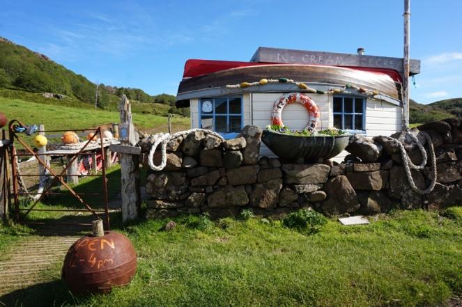 Ice cream hut made out of a boat, Calgary Bay, Isle Of Mull, Scotland