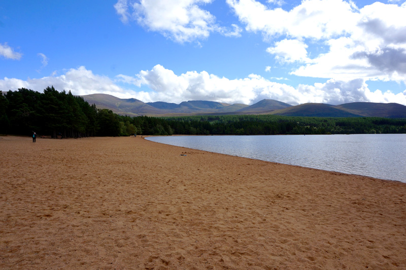 Loch Morlich, the highest beach in the UK, Aviemore, Scotland