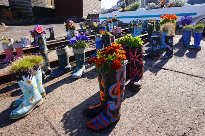 Welly boot garden, St Monans, Fife, Scotland