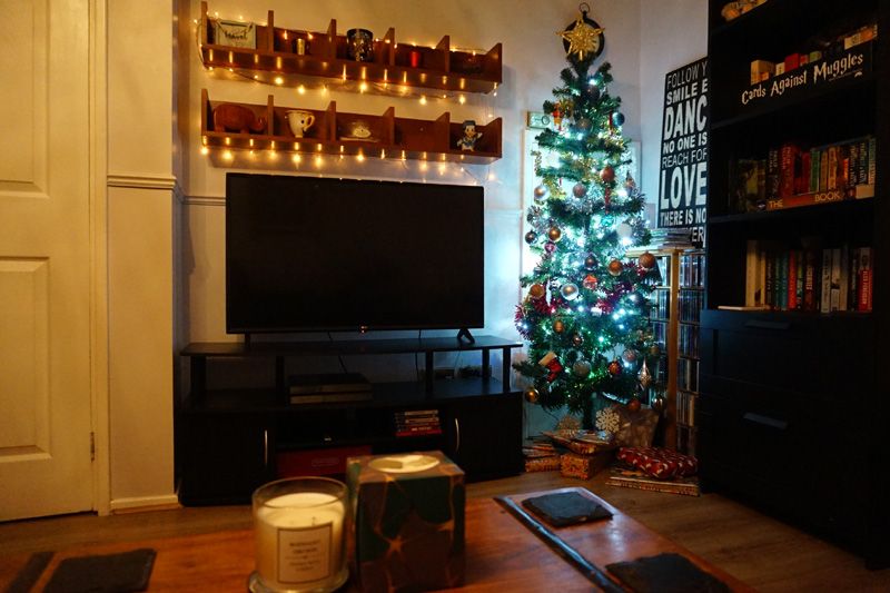 Our living room - Christmas tree set up