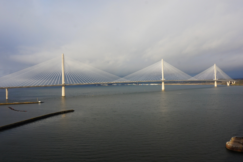 Walking across the bridge to Fife, Scotland