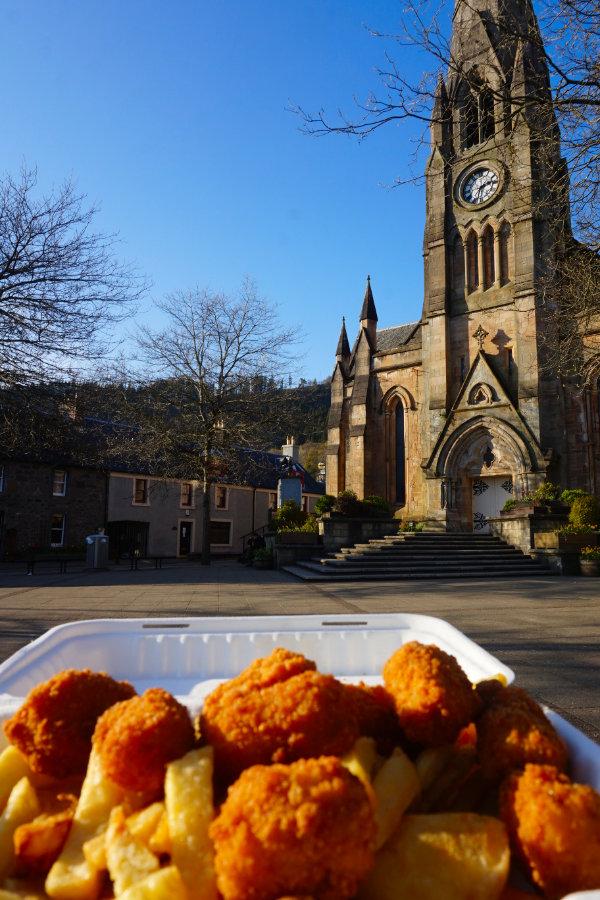 Scampi & chips in Callander, Scotland