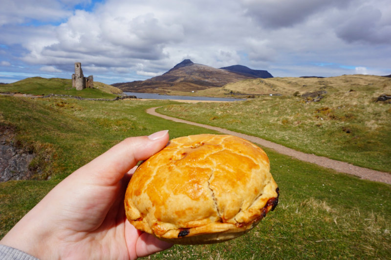 Lochinver pie, Ardvreck castle, Assynt, Scotland