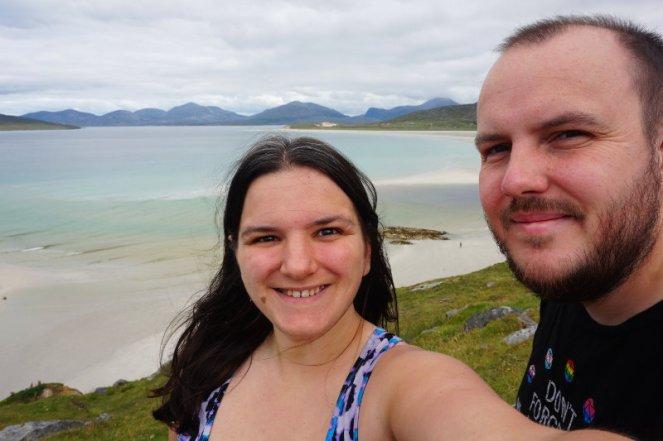 Me & Ash overlooking Seilebost beach, Isle Of Harris, Scotland