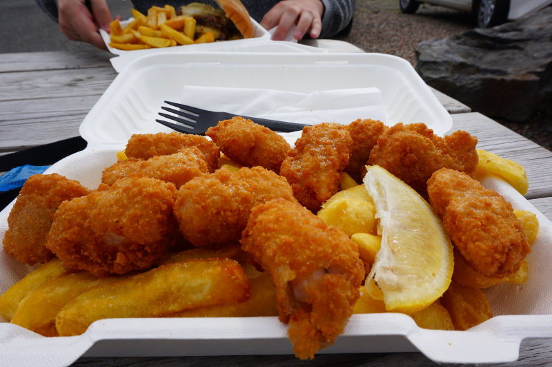 Scampi & chips from the Butty Bus, Leverburgh, Isle Of Harris, Scotland