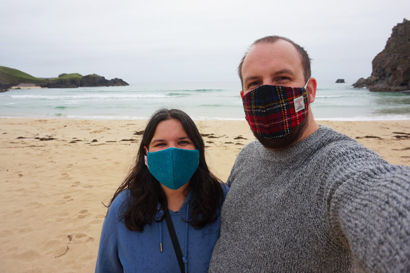Ash & I showing off our Harris Tweed masks at Mangersta beach, Isle Of Lewis, Scotland